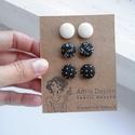 MINI textil fülbevaló csomag - Tél - 3 pár - Anyagában mintás fehér, fekete virágos és fekete pöttyös, Ékszer, óra, Fülbevaló, Tudod, hogyan lehetsz még csinosabb és magabiztosabb? Úgy, hogy a színtípusodnak megfelelő színeket ..., Meska