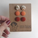 MINI textil fülbevaló csomag - Univerzális színek - 3 pár - Narancs rózsabimbó - egyszínű sötét barack - meleg barna, Ékszer, Fülbevaló, Tudod, hogyan lehetsz még csinosabb és magabiztosabb? Úgy, hogy a színtípusodnak megfelelő színeket ..., Meska