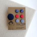 Ékszerszett MINI textilfülbevaló csomag 3 pár + gyűrű  , Sötétkék alapon virágos, egyszínű rozsdabarn...