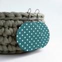 Türkiz alapon pöttyös Maxi textilfülbevaló, Türkiz alapon pöttyös textilből készült ez a...