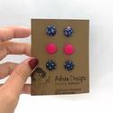 Micro textil fülbevaló csomag elegáns színekben - 3 pár , Hármas fülbevaló csomag pici, 1 centiméteres m...
