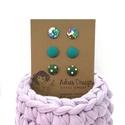 Micro textil fülbevaló türkiz, zöld színekben - 3 pár , Hármas fülbevaló csomag pici, 1 centiméteres m...