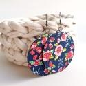 Télikert MAXI textil ékszer - kék alapon virágmintás, Sötétkék alapon rózsaszín, virágmintás anya...