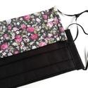 Szájmaszk csomag, kétrétegű, egyszínű fekete és sötét alapon rózsás, 2 db, 2 db kétrétegű textil szájmaszk. 1 db sötét ...