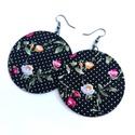 Fekete alapon rózsás MAXI textilfülbevaló , Fekete alapon pöttyös, rózsás minőségi patch...