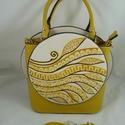 Merész fazonú, minőségi műbőr táska, kézzel festett, egyedi mintával!, Kiváló minőségű, extravagánsműbőr kézi,...