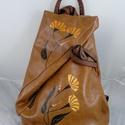 Extravagáns, minőségi műbőr háti táska, kézzel készült, kézzel festett mintával!, Vera Pelle replika, extravagáns háti... Kiváló...