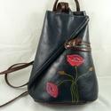 Extravagáns, valódi marhabőr háti táska, kézzel készült, kézzel festett mintával!, Vera Pelle, extravagáns háti... Kiváló, minős...