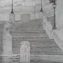 Lépcsők, Képzőművészet, Dekoráció, Grafika, Rajz, Fotó, grafika, rajz, illusztráció, 27 x 33,5 cm-es, keret nélküli, fotorealisztikus stílusban készült grafitceruzarajz. A fotókon a ra..., Meska