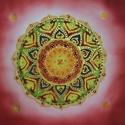 Világok Virága Rezgésszám növelő selyemre festett mandala , Képzőművészet, Mindenmás, Festmény, Festmény vegyes technika, Selyemfestés, 40,5*40,5 cm-es selyemre festett mandala. Főként nyugalmat sugároz, segíti a rezgésszám növekedését..., Meska