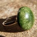 Zöld gyűrű, Ékszer, Gyűrű, kerámia gyűrű állítható gyűrűalappal, Meska