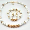 Bella menyasszonyi szett(tört fehér,kristály,arany,ekrü)