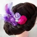 Pink lila hajdísz, Esküvő, Hajdísz, ruhadísz, Pink és lila rózsákkal ,tollal és gyöngyökkel díszített hajdísz.Ajánlom menyasszonyoknak,k..., Meska