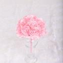 Rózsaszín csokor, Esküvő, Esküvői csokor, Kézzel készített, szatén rózsákból álló csokor, melynek köszönhetően a virágok tökéle..., Meska