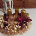 Aranykapu-kötött adventi koszorú, Dekoráció, Ünnepi dekoráció, Karácsonyi, adventi apróságok, Karácsonyi dekoráció, Ismét egy textillel bevont szalmaalapra kötöttem Decofur fonalból kabátot.Aztán díszítettem,..., Meska