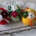 Színes,horgolt tojások3., Otthon, lakberendezés, Dekoráció, Húsvéti díszek, Ünnepi dekoráció, Színes,horgolt tojások 3. Ezek a vidám,tavaszi színekkel készített tojások is akril ruhát ka..., Meska
