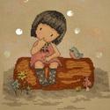 Töprengő kislány, 20x16 cm keresztszemes kép. Kislányoknak faliké...