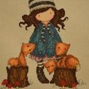 A lány és a kisrókák /  Gorjuss, 20x15 cm keresztszemes, kislányoknak falikép vag...
