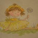 Sárgaruhás tündér, 25x16 cm keresztszemes - igazi kislányszobába va...