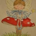 Gombán ülő tündérlány, 23x17 cm keresztszemes - igazi kislányszobába va...