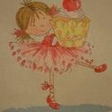 Tündérlány muffinnal, 24x19 cm keresztszemes - igazi kislányszobába va...