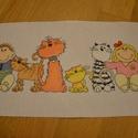 Cicák és gyerekek, 37x12 cm keresztszemes kép, gyerekszobába vidám...