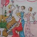 Barátnők a zongoránál, Dekoráció, Kép, 22x22 cm hímzett kép - akár párnának is, Meska