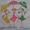 Barátnők az esőben, 26x26 cm hímzett kép - akár párnának is!