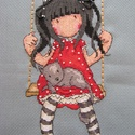 Hintázó kislány cicával / Gorjuss, 20x10 cm hímzett kép - akár keretezve faliképn...