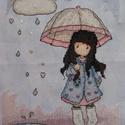 Kislány az esőben / Gorjuss, 16x21 cm hímzett kép