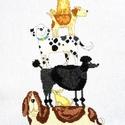 Kutyatorony, Baba-mama-gyerek, Dekoráció, Gyerekszoba, Kép, 33x18 cm-es keresztszemes kép - a tervezés nem az én művem, de az öltögetés annál inkább - ..., Meska