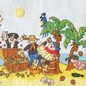 Kalózok, Baba-mama-gyerek, Dekoráció, Gyerekszoba, Kép, 38x15 cm keresztszemes kép - akár keretezett faliképnek, akár párnának., Meska