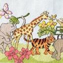 Állatkerti túra, Baba-mama-gyerek, Dekoráció, Gyerekszoba, Kép, 38x16 cm keresztszemes kép - akár párnának is!, Meska