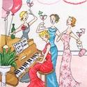 Barátnők a zongoránál, 22x22 cm hímzett kép - akár párnának is