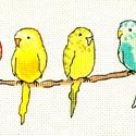 Színes papagájok, Baba-mama-gyerek, Dekoráció, Gyerekszoba, Baba falikép, 28x13 cm keresztszemes, gyerekszobába vidám kép vagy párna is készíthető belőle. A design ne..., Meska