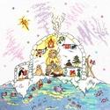 Eszkimó karácsony, Baba-mama-gyerek, Dekoráció, Gyerekszoba, Kép, 25x25 cm-es keresztszemes hímzés, keretezett faliképnek ajánlom., Meska
