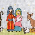 Betlehem, Baba-mama-gyerek, Dekoráció, Gyerekszoba, Kép, 37x12 cm-es keresztszemes hímzés - keretezett falikép készülhet belőle., Meska