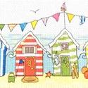 Beach - tengerparti színes házak, Baba-mama-gyerek, Dekoráció, Gyerekszoba, Kép, 39x15 cm keresztszemes kép, Meska