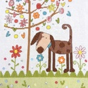 Kutyus a fa alatt, Baba-mama-gyerek, Dekoráció, Gyerekszoba, Kép, 30x23 cm-es keresztszemes hímzés, képnek ajánlom, Meska