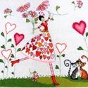 Szívkirálylány, 26x26 cm keresztszemes hímzés, falikép vagy pá...