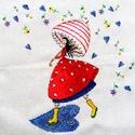 Ének az esőben, Dekoráció, Baba-mama-gyerek, Kép, Gyerekszoba, 26x26 cm keresztszemes hímzés - falikép, de akár párna is lehet belőle, Meska