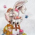 Bebunni - hímző nyuszi, Dekoráció, Baba-mama-gyerek, Kép, Gyerekszoba, 18x22 cm keresztszemes hímzés, Meska