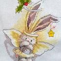 Bebunni - Angyal nyuszi, Dekoráció, Baba-mama-gyerek, Ünnepi dekoráció, Karácsonyi, adventi apróságok, Karácsonyi dekoráció, Gyerekszoba, 18x22 cm keresztszemes hímzés, Meska