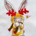 Bebunni - Rudolf, a nyúl..., Dekoráció, Ünnepi dekoráció, Karácsonyi, adventi apróságok, Karácsonyi dekoráció, 16x22 cm keresztszemes hímzés, Meska