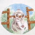 Bebunni - Játszótér, Kb. 20x20 cm keresztszemes hímzés, faliképnek a...
