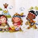Tíz kicsi indián, Gyerek & játék, Otthon & lakás, Gyerekszoba, Baba falikép, Dekoráció, Kép, Hímzés, Kb. 55x15 cm-es keresztszemes hímzés, indiánrajongóknak gyerekszobába ideális:-), Meska