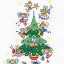 Tündérek karácsonya, Kb. 35x25 cm keresztszemes kép, keretezve aranyos...