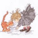 KIslány és a cicája, Kb. 20x25 cm keresztszemes kép
