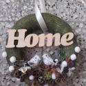 MADÁRLESEN zöld-fehér-barna ajtódísz, -KÉSZTERMÉK, Dekoráció, Otthon, lakberendezés, Ajtódísz, kopogtató, Koszorú, Virágkötés, Mindenmás, Szerettem volna valami természethez közeli, letisztult, szolid, nyugtató látványt biztosító ajtódís..., Meska