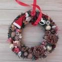 Karácsonyi ajtódísz, kopogtató KÉSZTERMÉK, Dekoráció, Otthon, lakberendezés, Ajtódísz, kopogtató, Ünnepi dekoráció, Mindenmás, Virágkötés, A klasszikus karácsony jellemzői a piros, a zöld és a fehér, egy kis kockás anyag, és némi játékoss..., Meska
